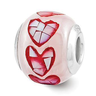 925 Sterling Silber poliert Finish Reflexionen rosa Glasfaser Glas Mosaik Perle Anhänger Anhänger Halskette Schmuck Geschenke