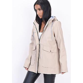 Vandtæt Hooded Festival regn Mac coat beige