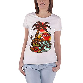 Falling In Reverse T Shirt Island Band Logo Official Womens White Roll Sleeve