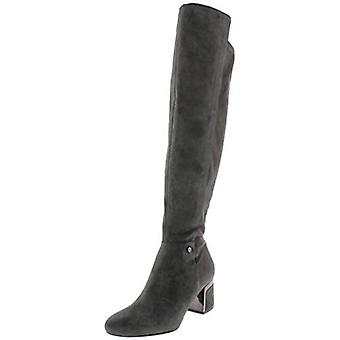 DKNY Damen Cora Leder Block Ferse Over-The-Knee Stiefel grau 6 Medium (B, M)
