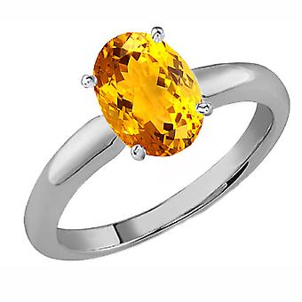 Dazzlingrock Collection 18K 8X6 MM Oval Cut Citrine Ladies Solitaire Bridal Engagement Ring, White Gold