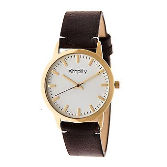 Simplify The 2800 Leather-Band Watch - Gold/Dark Brown