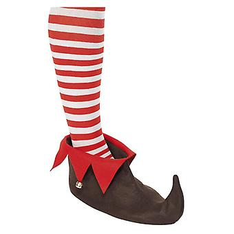 Zapatos de elfo marrón con bells Navidad vestido de fantasía accesorio