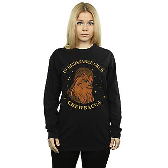 Star Wars Women's The Rise Of Skywalker Chewbacca First Resistance Crew Boyfriend Fit Long Sleeved T-Shirt