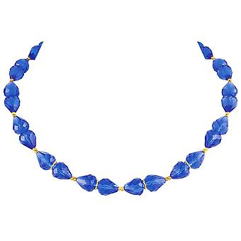Eternal Collection Sophistication Sapphire Blue Crystal Gold Tone Necklace