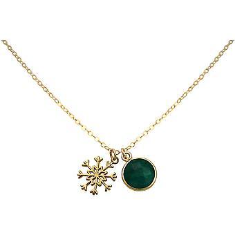 GEMSHINE halskjede SCHNEEFLOCKE 925 sølv eller forgylt-Emerald