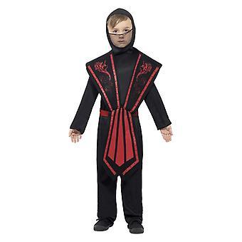 Chłopcy czarnych & czerwony strój fantazyjny strój Ninja
