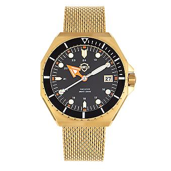 Shield Marius Bracelet Men's Diver Watch w/Date - Gold/Black