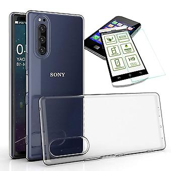 For Sony Xperia 5 Silicone Case TPU Transparent + 0.26 H9 Glass Case Case Cover