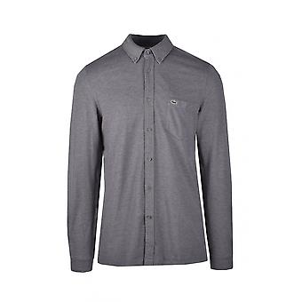 Lacoste Slim Fit Button Down Collar Shirt Charcoal Grey