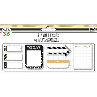 Happy Planner Sticky Notes 140/Pkg-Black/White/Gold - Classic, 7 Des/20 Ea