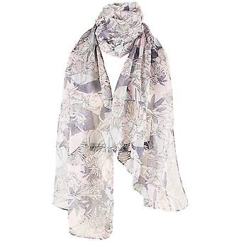 Michelsons of London Botanical Flower Scarves - Pink/Grey