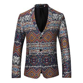 Allthemen Men's Ethnic Printed Suit Jacket Formal Traditional Party Banquet Dress Suit Jacket