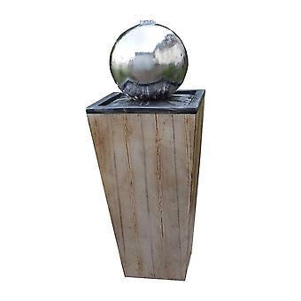 Ball fontenen hage fontenen fontenen FoLegno med rustfritt stål ball 83 cm 10858