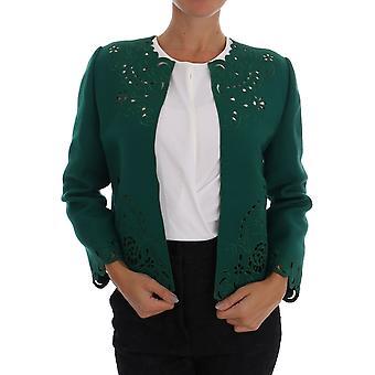 Dolce & Gabbana Green Floral Cutout Wool Jacket