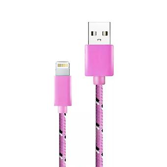 Stuff Certified® iPhone / iPad / iPod charging cable Lightning Braided Nylon Charging Data Cable 1 Meter Data Pink