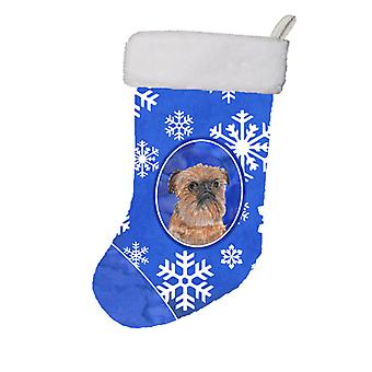 Brussels Griffon Winter Snowflakes Christmas Stocking