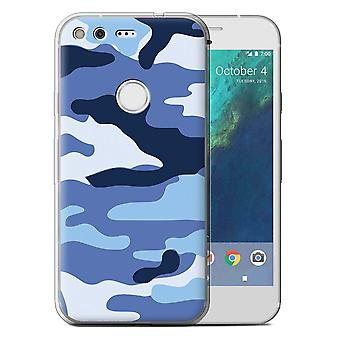 STUFF4 Gel TPU Case/Cover for Google Pixel (5.0'')/Blue 2/Camouflage Army Navy