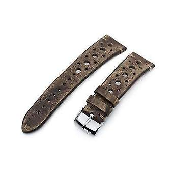 Strapcode leather watch strap 20mm or 22mm miltat italian handmade racer vintage chestnut brown watch strap, l. brown stitching