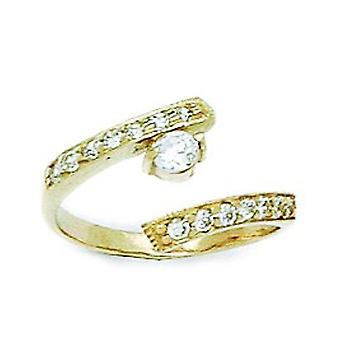 14k Yellow Gold CZ Cubic Zirconia Simulated Diamond Top Adjustable Fancy Body Jewelry Toe Ring Jewelry Gifts for Women