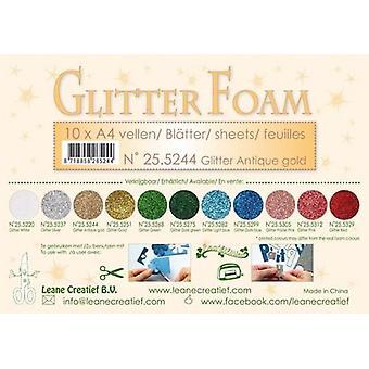Leane Creatief Glitter Foam Sheets A4 Glitter Antique Gold