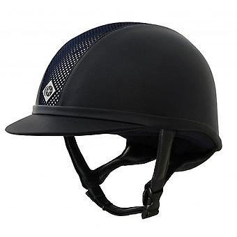 Charles Owen Ayr8 Plus Leather Look Riding Hat - Navy/silver