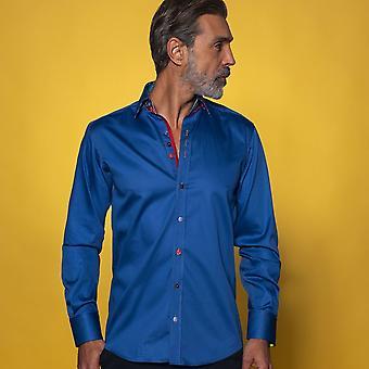 CLAUDIO LUGLI Classic Shirt mit lebendigen Marmoreinsatz