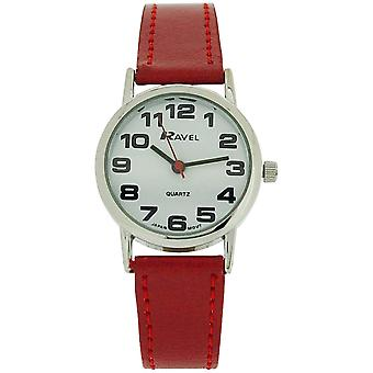 Ravel Ladies - Womens White Dial & Red PU Buckle Strap Watch R0105.10.2
