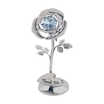 Crystocraft 'quot;Thank You'quot; Single Lilac Rose Freestanding Silver Plated Ornament Made With Swarovski Crystals