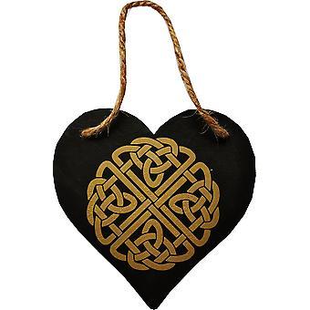 Plaque de mur en forme de coeur celtique de noeud noire et or