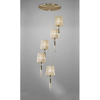 Tiffany Pendant 5+5 Light E27+g9 Spiral, Antique Brass With Soft Bronze Shades & Clear Crystal