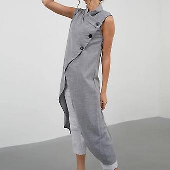Asymmetrische mouwloos knoppen casual blouse
