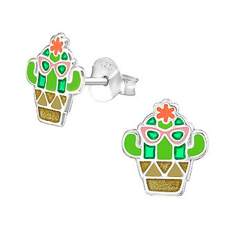 Cactus - 925 Sterling Silver Colorful Ear Studs - W37496x