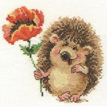 Alisa Cross Stitch Kit - Hedgehog with Poppy