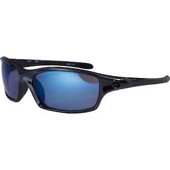 Bloc Eyewear Daytona Shiny Black Sunglasses (Blue Mirror/Cat 3 Lens)