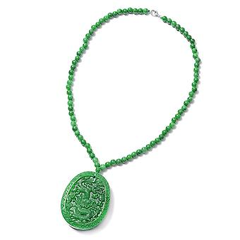 TJC 421.5 Ct Green Jade Ketting voor dames in Sterling Silver Size 18