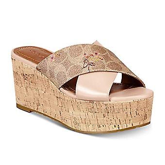 Coach Women's Shoes Cross Band Wedge Sandálias de Couro Aberto aos dedos casuais...