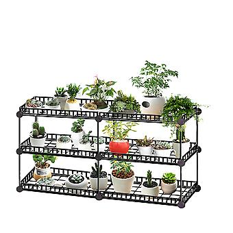 Iron plant storage rack, multi-layer large-capacity multi-function display rack, living room garden balcony flower stand
