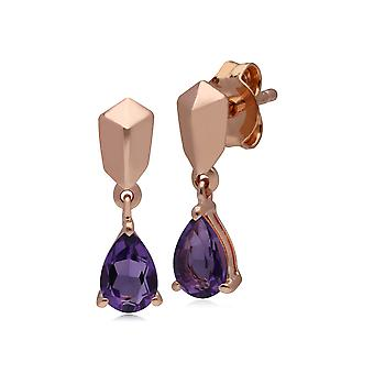 Micro Statement Amethyst Earrings in Rose Gold Plated 925 Sterling Silver 270E029301925