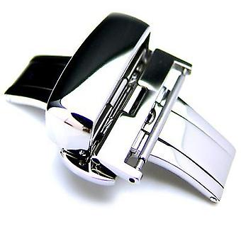 Strapcode watch clasp 20mm, 22mm, 24mm deployment buckle / clasp, polished stainless steel for leather strap