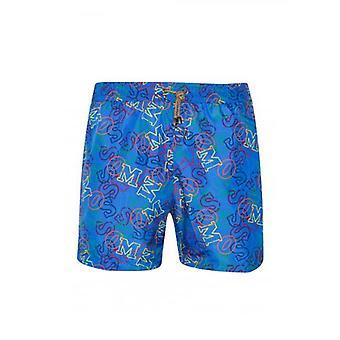 MISSONI Mare Royal Blue Logo Print Swim Shorts