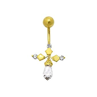 14K Gold Dangling Belly Ring