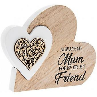 Always My Mum Wooden Heart Block Ornament