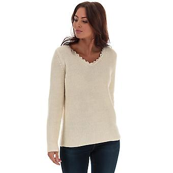 Women's Only Jennie Life Lace V-Neck Jumper in Cream