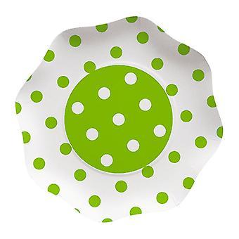Jabłko Zielone kropki kropki 23cm w kształcie papieru Party Plates