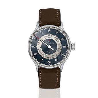 MeisterSinger Pangaea Day Date PDD9Z17S Automatic Blue Dial Brown Leather Strap Men's Watch