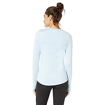 Brand - Core 10 Women's Standard Be Warm Brushed Thermal Fitted Long Sleeve, Sky Blue Heather, Medium