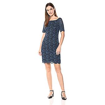 Lærke & Ro Kvinder & apos;s Halv ærme Lace Off skulderen Sheath Dress, Marine Blue ...