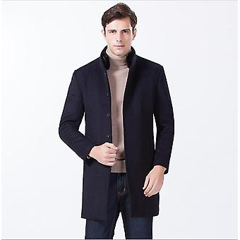 Men's Gentle Band Collar Single Breasted Wool Blend Pea Coat