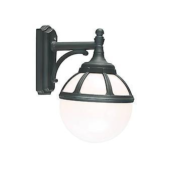 1 Light Outdoor Globe Wall Light Black IP54, E27